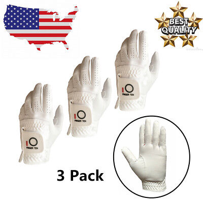 Golf Gloves Men Left Hand 3 Pack for Right-Handed Golfer Black White Large ML M