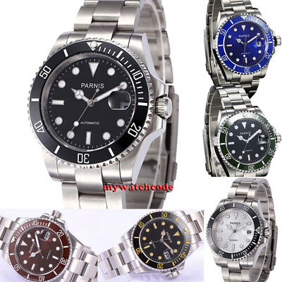 40mm PARNIS black dial blue dial date window ceramic bezel automatic mens watch