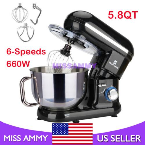 5.8QT Stand Mixer 6-Speed Electric Kitchen Tilt-Head Dough Hook Whisk Beater US
