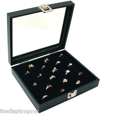 Glass Top Display Case 36 Slot Ring Insert New Storage Jewelry Box