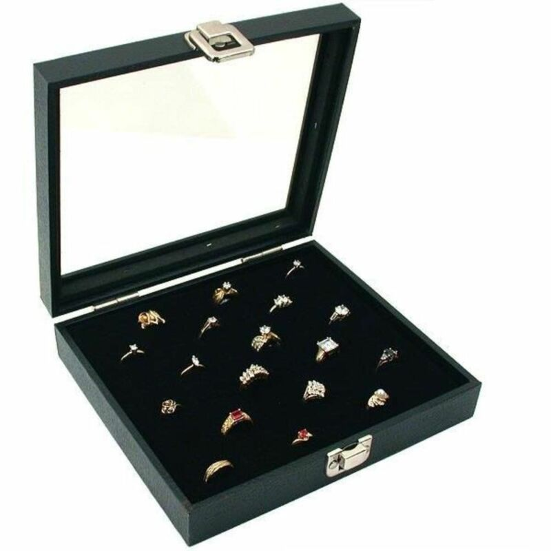 Glass Top Display Case 36 Slot Ring Insert New, Storage Jewelry Box