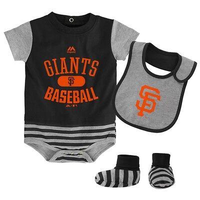 San Francisco Giants Majestic Newborn Baseball Property Creeper Bib Bootie Set