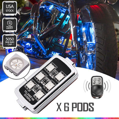 6 pods LED Motorcycle Multi Color KTM Accent Engine Ground Wheel Stop Light Kit