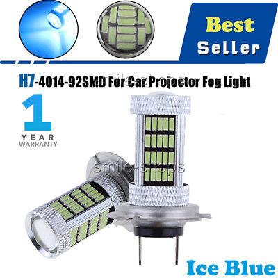 2x H7 92 4014 SMD LED 8000K Ice Blue Car Fog Light Daytime Running Bulb Lamp DRL
