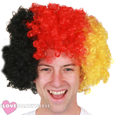 BLACK RED AND YELLOW AFRO WIG GERMAN FLAG EURO FOOTBALL SUPPORTER FANCY DRESS - Black Red And Yellow Flag