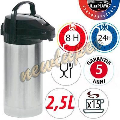 THERMOS CARAFFA 2,5lt CON POMPA ACCIAIO INOX BEVANDE CALDO/FREDDO LAPLAYA 541800