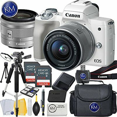Canon EOS M50 Mirrorless Camera w/15-45mm (White) with 2 x 32GB Bundle