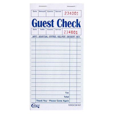 1 Part Green & White Restaurant Guest Check w/ Guest Receipt - 50 Books / Case