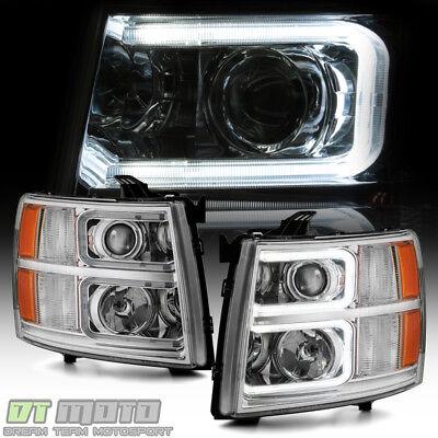 2007-2013 Chevy Silverado 1500 2500HD 3500HD [C Tube] LED Projector Headlights