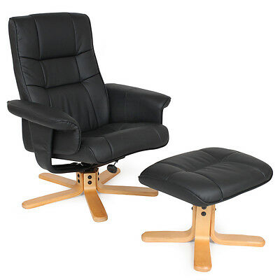 TV Fernsehsessel  Sessel kippbar drehbar Relaxsessel mit Hocker schwarz Holzfüße