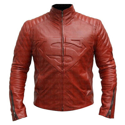Superman Embossed Logo Stylish Red Hot Biker Leather Jacket Halloween Costume