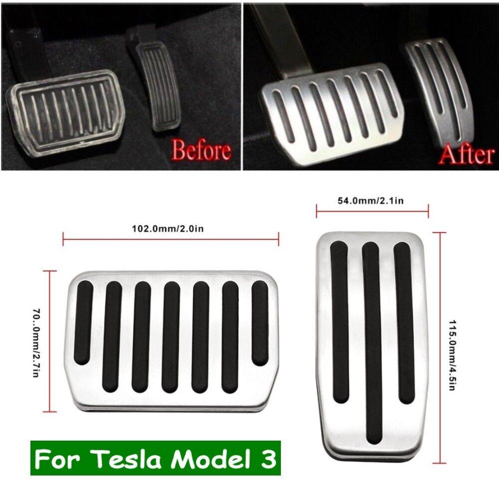 2016-2021 Motrobe Tesla Model 3/Model Y Anti-Slip Aluminium Accelerator Brake Foot Pedals Cover Set of 2