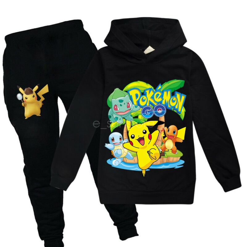 Pokemon Pikachu Kids Boys Girls Clothes Sweatshirt Hoodie Top Coat Pant Outfits
