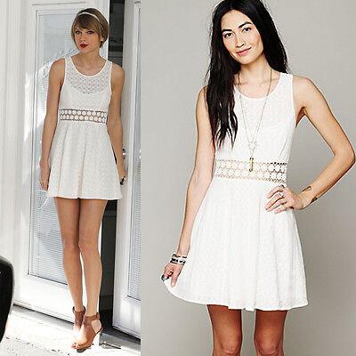 NEW Free People BEST SELLER Daisy Waist Fit 'n Flare Dress Sz 12 L Ivory $128