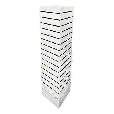 12 Inch X 12 Inch X 54 Inch White Revolving Slatwall 4 Sided Rotating Display