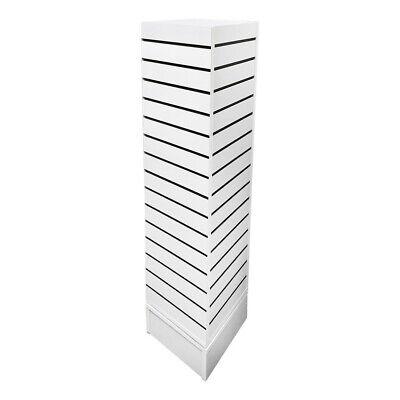 12 Inch X 12 Inch X 54 Inch White Revolving Slatwall 4 Sided Rotating Display