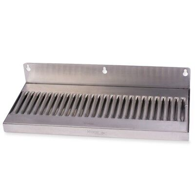Draft Beer Drip Tray - Wall Mount No Drain - Stainless Steel 14 X 6 Kegerator
