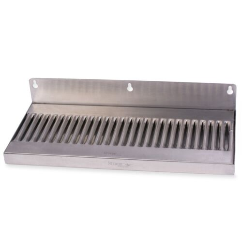 """Draft Beer Drip Tray - Wall Mount No Drain - Stainless Steel 14"""" x 6"""" Kegerator"""