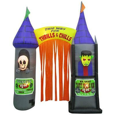 Large HALLOWEEN Airblown Inflatable Carnival House Horrors Monsters Archway - Halloween Inflatable Archway