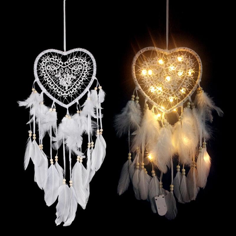 LED Light Love Heart Dream Catcher Kids White Feather Handmade Gift Wall Hanging