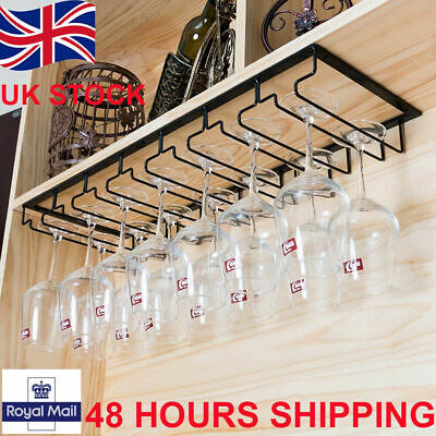 Wine Glass Rack Holder Hanger Hanging Bar Shelf Free Screws ROWS Wall Mounted UK