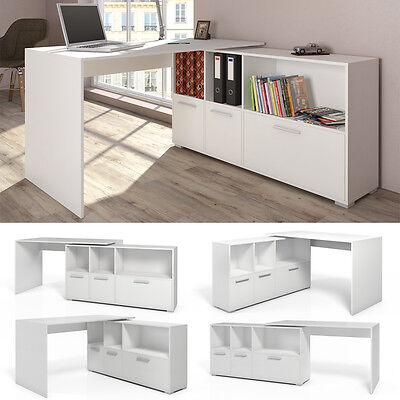 Eckschreibtisch Schreibtisch Winkelschreibtisch Computertisch Bürotisch Weiß