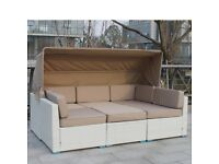 CLEARANCE Altrincham 3 Seat Rattan Versatile Sofa with Canopy 2 Arm Chairs with Cushions and Table