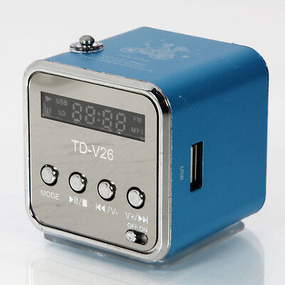 Micro SD TF Mini USB Speaker Music Player Portable FM Radio Stereo PC Mp3 Blue on Rummage
