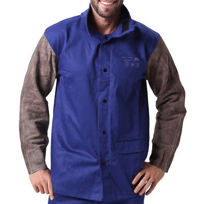 Ap-2630 Fire Retardant Cotton Welding Jacket W Cowhide Leather Sleeves Xl Xxl