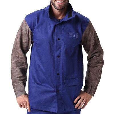 Ap-2630 Fire Retardant Cotton Welding Jacket W Cowhide Leather Sleeves Xl Xxl