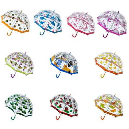 Bugzz UMBRELLA Children Kids PVC Clear Dome Design Brolly Colourful Girl & Boy