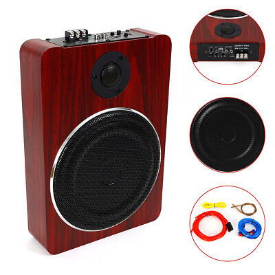 8'' 600W Under-Seat Car Subwoofer Powered Bass Amplifier Slim Enclosure Sub Kit