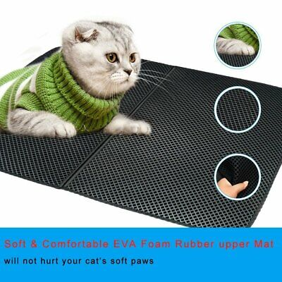 Cat litter Mat - Double Layer Pad -Trapper Foldable Pad Pet Rug EVA Foam Rubber ()