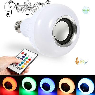 Wireless Bluetooth Speaker Light 12W E27 LED RGB Bulb Lamp Music Player + Remote