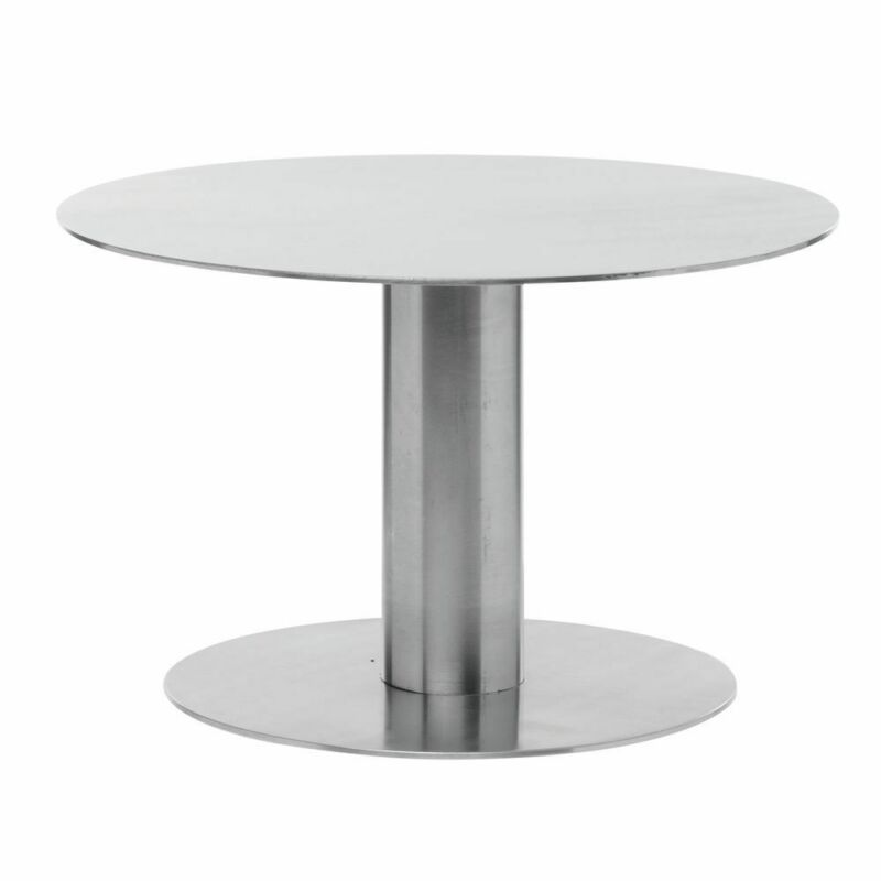 "Expressly HUBERT® Round Stainless Steel Metal Pedestal - 8""Dia x 5""H"