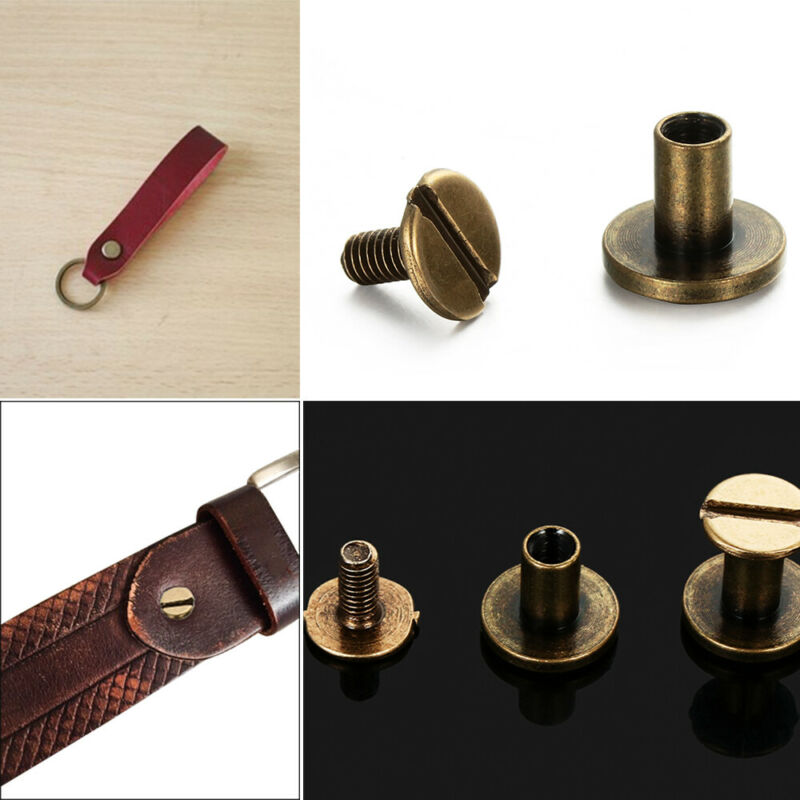 Solid Nail Bolt Strap Rivets Screw Leather Craft Round Head Screws