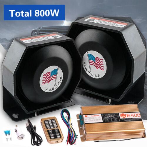 400W 8 Sound Car Warning Alarm Police Fire Siren Horn Speaker Wireless Amplifier