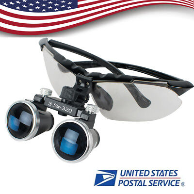 Us Dental Medical Binocular Loupes 3.5x 320mm Optical Glass Loupe For Head Light