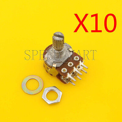 10 pcs B20K Ohm Dual Linear Rotary Potentiometer Pot 15mm Shaft 6 Pins for sale  China