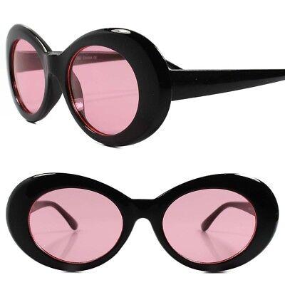 Classic Vintage Retro 90s Fashion Urban Mens Womens Pink Lens Oval Sunglasses