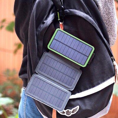 External Batterie 300000mAh Charger 3 Solar Panel Powerbank Zusatzakku 2USB LED Usb Solar Panel