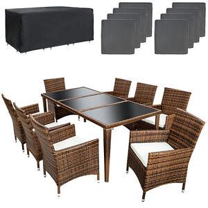 Polyrattan Aluminium Sitzgruppe Gartenmöbel Gartenset Gartengarnitur Essgruppe