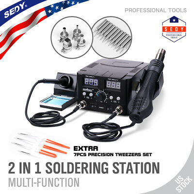 2 in1 SMD Hot Air Rework Station Soldering Iron 11 Tips 4 Nozzles 7 tweezers LED