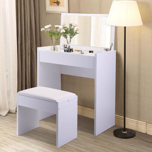 Vanity Set Makeup Dressing Desk Table Stool Dresser with Mirror & 9 Storage