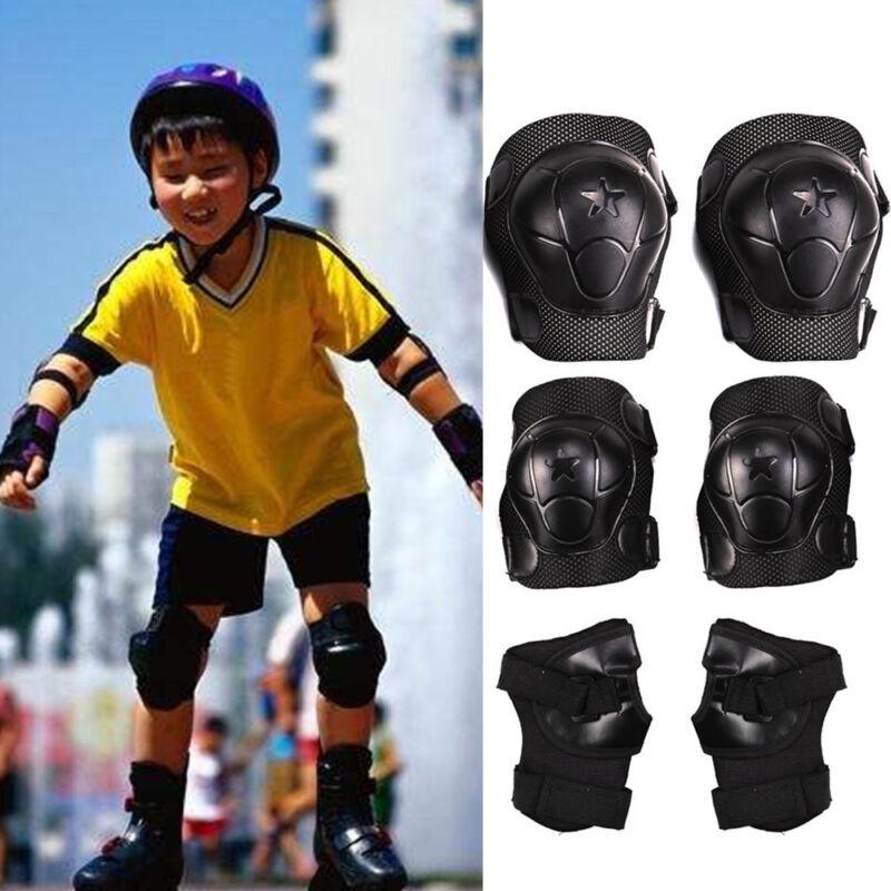 Kinder Protektoren Set Schützer Schoner 6-teilig Schwarz Inliner Skateboard NEU