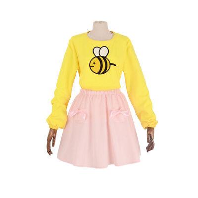 Bee and Puppycat Cosplay Costume Bee Yellow T-shirt Pink Skirt Girls - Bee Girl Costume