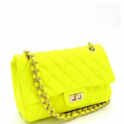 Quilted Turn-Lock 2-Way Chain PU Leather Shoulder Bag Neon Color
