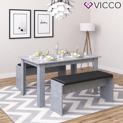VICCO Tischgruppe Beton - Sitzgruppe Essgruppe Holztisch Esstisch Holz Tisch (Esstische)