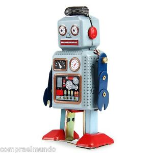Wind Up Walking Radar Robot Tin Toy Retro Vintage Gift Mechanical Clockwork Kid