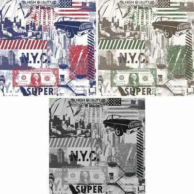 Muriva America New York Collage Pattern Wallpaper Statue of Liberty Money City